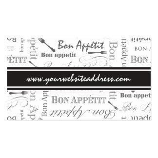 Bon francés Appetit del vintage blanco y negro Tarjetas De Visita