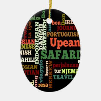Bon Italian Irish Safari Hapanese Voyage Double-Sided Oval Ceramic Christmas Ornament