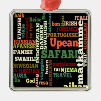 Bon Italian Irish Safari Hapanese Voyage Square Metal Christmas Ornament