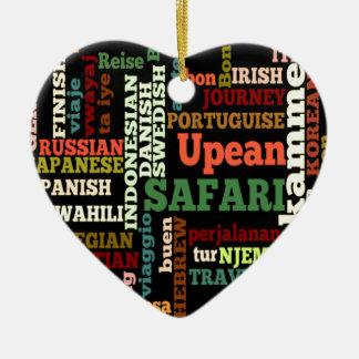 Bon Italian Irish Safari Hapanese Voyage Double-Sided Heart Ceramic Christmas Ornament