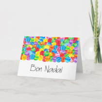 Bon Nadal Catalan Christmas baubles, watercolor Holiday Card