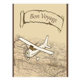 Bon Voyage Airplane Postcard