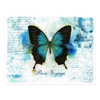Bon Voyage Blue Butterfly VictorianTravel Postcard
