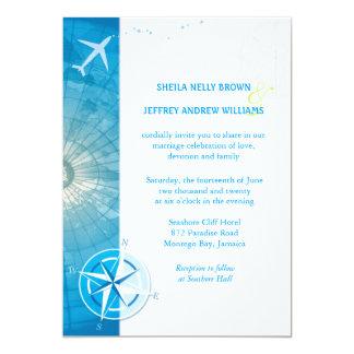 Bon Voyage Blue Destination Wedding Card