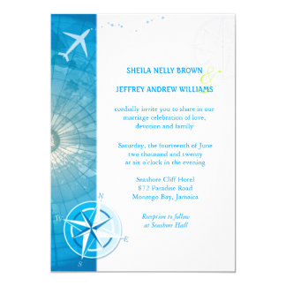 Bon Voyage Blue Destination Wedding Invitation