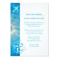 Bon Voyage Blue Destination Wedding Invitation