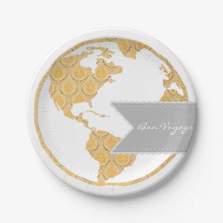 Bon Voyage | Bohemian World Map | Going Away Paper Plate