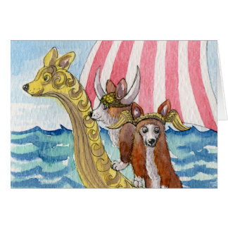 Bon Voyage -Corgi Vikings, Enjoy Your Travels Card