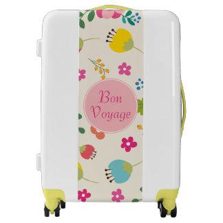 Bon Voyage Cute Girly Pastel Spring Flower Pattern Luggage