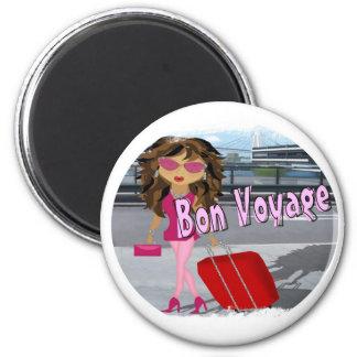 Bon Voyage Diva 2 Inch Round Magnet