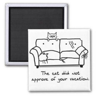 Bon Voyage from the Cat - Funny Cat Gift 2 Inch Square Magnet