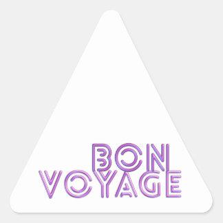 Bon Voyage fun pink greeting Triangle Sticker
