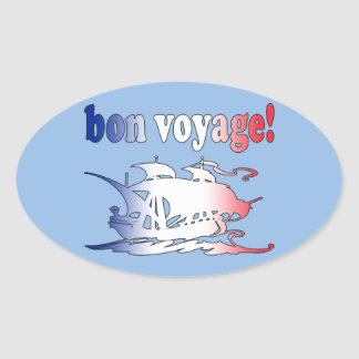 Bon Voyage Good Trip in French Vacations Travel Oval Sticker