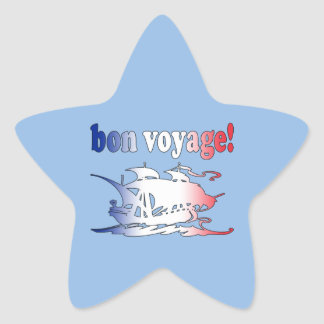 Bon Voyage Good Trip in French Vacations Travel Star Sticker