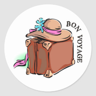 Bon Voyage, have a good trip! Luggage & hat Classic Round Sticker