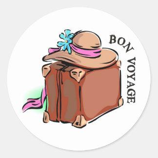 Bon Voyage, have a good trip! Luggage & hat Round Sticker