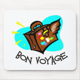 Bon Voyage, have a good trip! Winged suitcase Mouse Pad