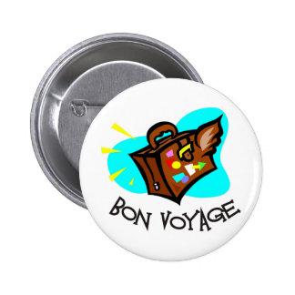 Bon Voyage, have a good trip! Winged suitcase Pinback Button