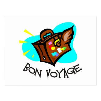 Bon Voyage, have a good trip! Winged suitcase Postcards