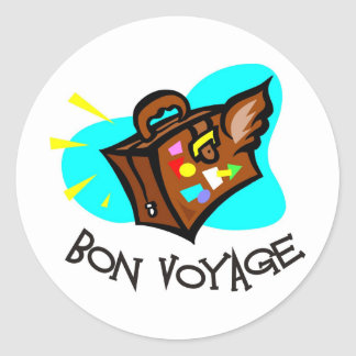 Bon Voyage, have a good trip! Winged suitcase Round Stickers