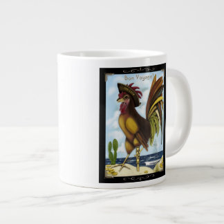 Bon Voyage Nautical pirate rooster on island mug