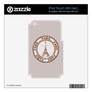 Bon Voyage Paris Travel Stamp Decals For iPod Touch 4G