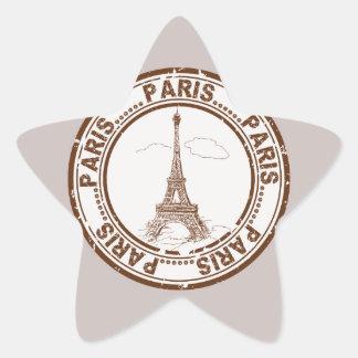 Bon Voyage Paris Travel Stamp Star Sticker