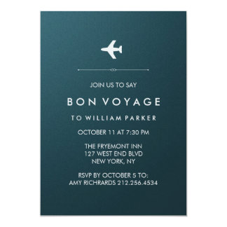 Bon Voyage Party with Airplane in Blue and Silver Card