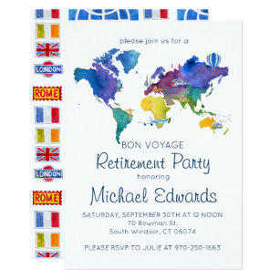 Bon voyage retirement invitations zazzle bon voyage retirement party invitation stopboris Image collections