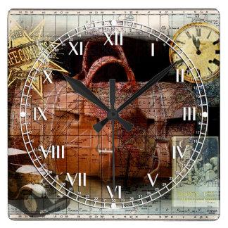 Bon Voyage Square Wall Clock