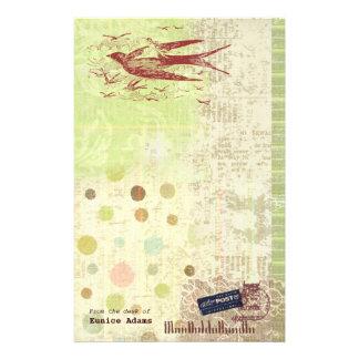 Bon Voyage Thumbelina Vintage Ephemera Collage Stationery