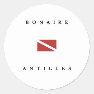 Bonaire Antilles Caribbean Scuba Dive Flag Round Stickers