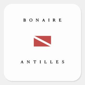 Bonaire Antilles Caribbean Scuba Dive Flag Square Stickers