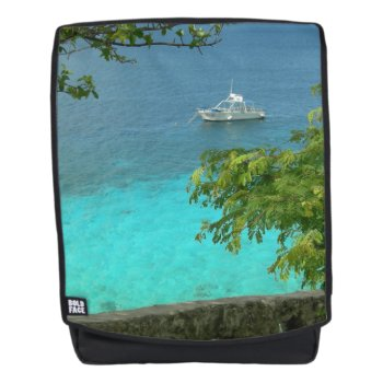Bonaire Ocean View With Boat Adult Backpack by Edelhertdesigntravel at Zazzle
