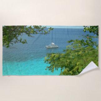 Bonaire Ocean View with Boat Beach Towel
