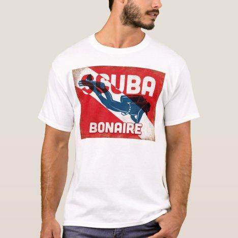 Bonaire Scuba Diver - Blue Retro T-Shirt