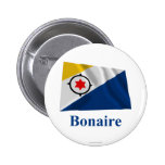 Bonaire Waving Flag with Name 2 Inch Round Button