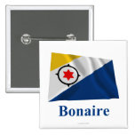 Bonaire Waving Flag with Name 2 Inch Square Button