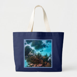 Bonairean Reef Blue Border Large Tote Bag