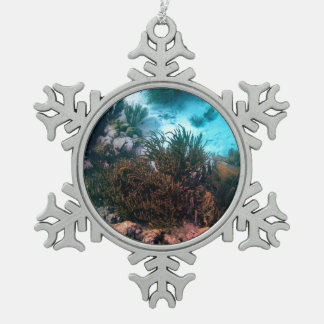 Bonairean Reef Snowflake Pewter Christmas Ornament