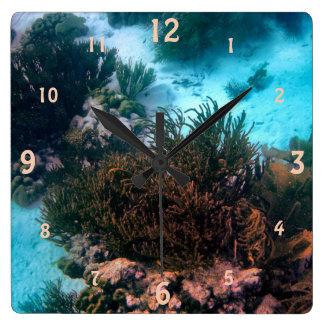 Bonairean Reef Square Wall Clock