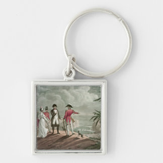 Bonaparte on St. Helena Silver-Colored Square Keychain