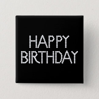 BonBon Party Happy Birthday Black & White Button