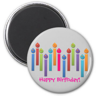 BonBon Party Happy Birthday colorful candels 2 Inch Round Magnet