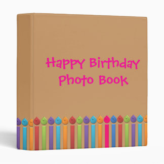 BonBon Party Happy Birthday colorful candels 3 Ring Binder