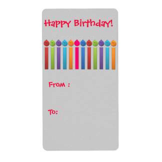 BonBon Party Happy Birthday Gift tag colorful