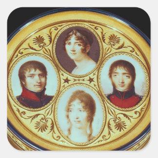 Bonbonniere con los retratos de Eugene Hortense Calcomania Cuadradas Personalizadas