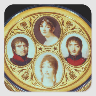 Bonbonniere with portraits of Eugene  Hortense Square Stickers