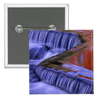 Bond Falls; Reflecting Fall Colored Leaves; Pinback Button