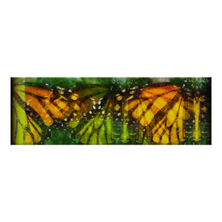 Bonded - Monarch Butterfly Abstarct Poster